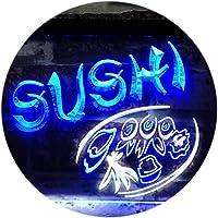 Sushi Japanese Food Restaurant Dual LED看板 ネオンプレート サイン 標識 White & Blue 400 x 300 mm st6s43-s0008-wb