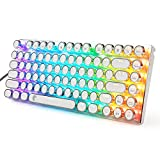 e元素青軸メカニカル式ゲーミングキーボード RGB発光LEDバックライト付き コンパクト設計81キーアンチゴーストキー パンクレトロなキーキャップを採用 英語配列USB有線高速反応 防水LOLゲーム用キーボード(青軸, ホワイト)