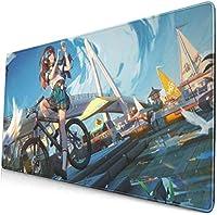 アニメ学生少女自転車風景15.8 x 29.5で大規模なゲーミングマウスパッドデスクマットロング滑り止めラバーステッチエッジ