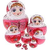 D DOLITY Handmade Russian Nesting Doll Babushka Matryoshka Stacking Dolls 10 Pieces Birthday Gift Christmas Decorations Crafts