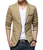 Tengfeng カジュアル ジャケット メンズ 大きいサイズ スーツ生地 紳士 カーキ M