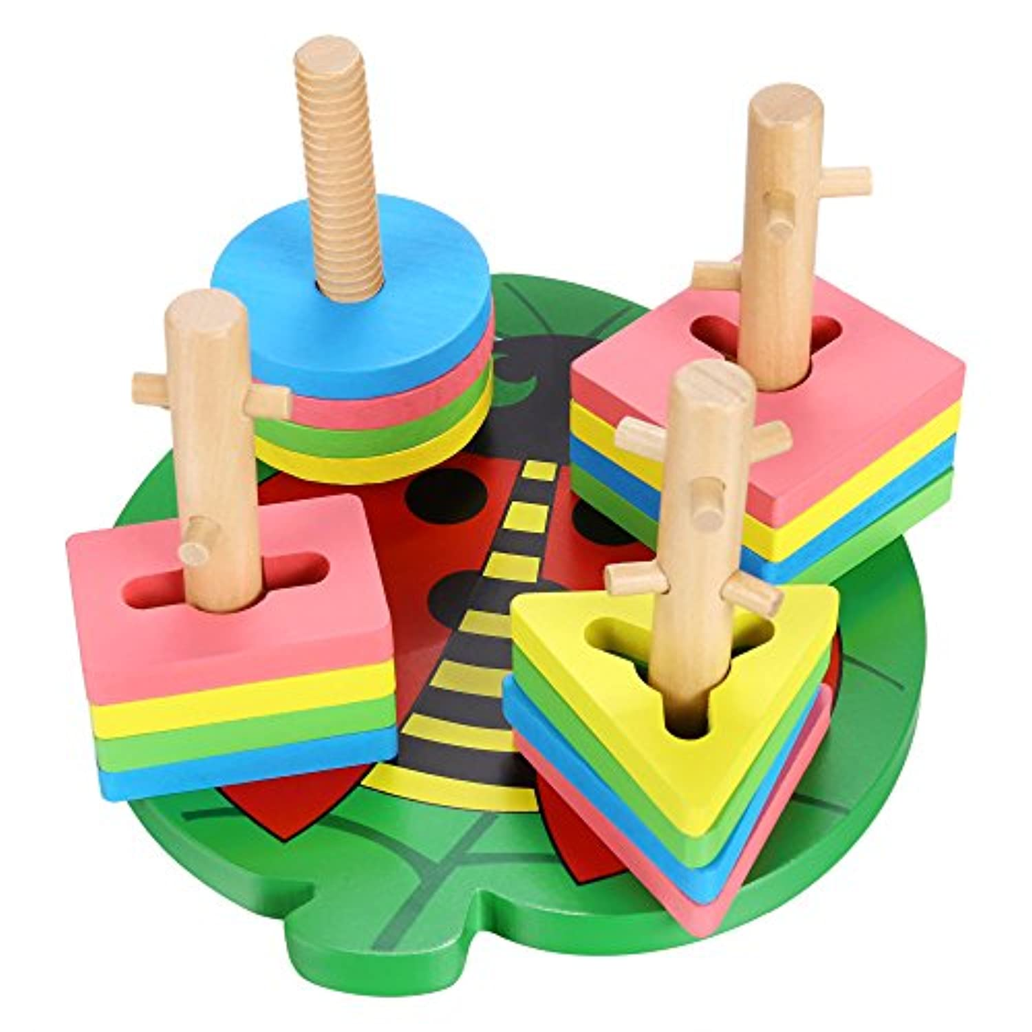 Funmily Wooden Stacking Toys & Shape Sorting Board Geometric Shape Sorter Early Childhood Development Toys for Kids (US STOCK)