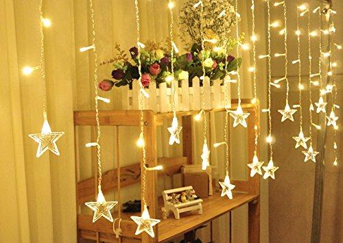 V-Dank イルミネーション LEDライト クリスマス飾り カーテン ライト 防水 点滅 96球 3.5M x 0.65M 16個星