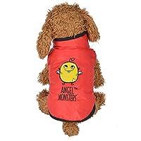 冬の暖かいパッド入りの厚いベスト幸運な太陽のコート犬のコスチュームペット服 (8, 赤)