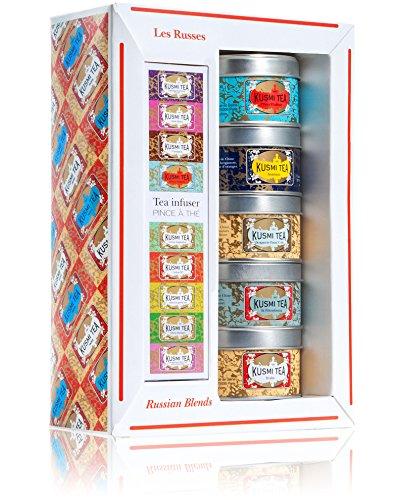 (KUSMI TEA) クスミティー ロシアン ブレンド ミニチュア ギフト セット ウィズ インフューザー (25g×5缶、インフューザー1個付) [正規輸入品]