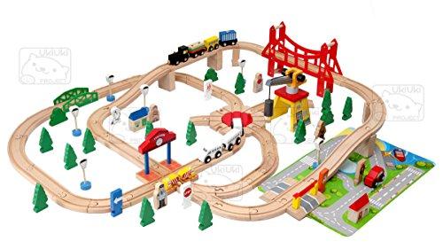 木製レール 電車・汽車(トレイン)セット 100ピース【トーマス・BRIO(ブリオ)対応】