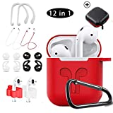 Airpods Case Red,HOOXIN Airpods Accessories Set,12 in 1 Protective Silicone Cover and Skin for Apple Airpods Charging Case with Airpods Ear Hook Grips/Airpods Staps/Airpods Clips/Skin/Tips/Grips