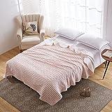 Hanacat タオルケット セミダブル 綿100% 肌掛け ストライプ柄 レッド 洗えるタオルケット(180×200cm)