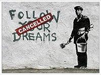 ポスター バンクシー Follow Your Dreams 額装品 アルミ製ハイグレードフレーム