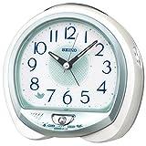 セイコークロック 01:白パール 13×14×9.6cm 置き時計 目覚まし時計 卓上時計 テーブルクロック アナログ QM748W
