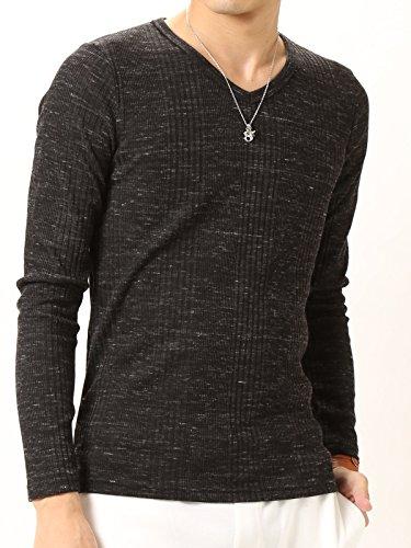 (アーケード) ARCADE ロングTシャツ ランダムテレコ 杢 フィットデザイン 針抜き Vネック ロンT メンズ 長袖 M ミックスブラック