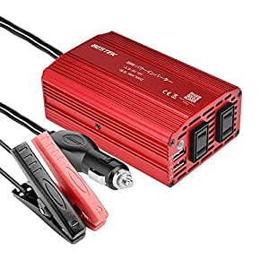 BESTEK カーインバーター 300W 車載充電器 六つ保護機能 ACコンセント2口 USB2ポート DC12VをAC100Vに変換 12V車対応 【バッテリー接続コードあり】 MRI3010BU