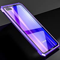 Huawei Honor10 Bumper Case, Awesome Aviation Aluminum Metal Frame Anti-Drop Tough Clear Glass Back Slim Cover, TAITOU Newest Cool Light Thin 2 In 1 Protection Phone Case For Huawei Honor 10 Purple