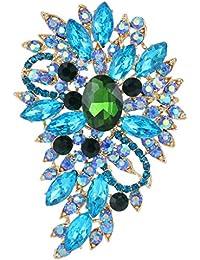 Ever Faith Women's Austrian Crystal Flower Leaf Bouquet Brooch Blue Aquamarine-Color w/ Green Gold-Tone