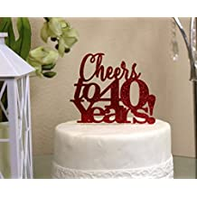 All About Details CATCT40RED Red Cheers to 40 Years Cake Topper, 6 x 9