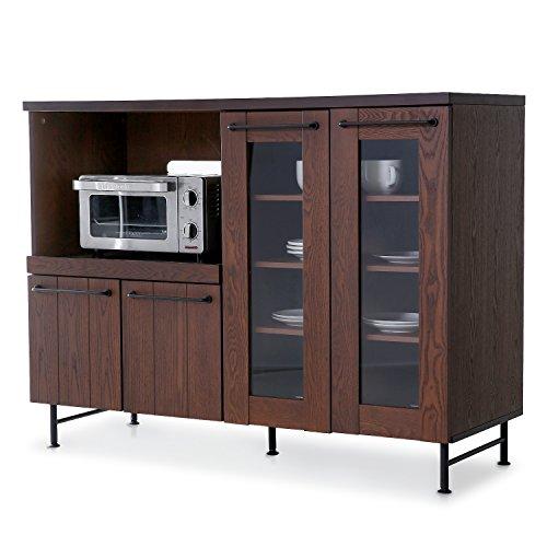 RoomClip商品情報 - LOWYA (ロウヤ) レンジ台 キッチン収納 木製 天然木 タモ材 スチール スライド棚 可動棚 コンセント付 キャビネット 幅119cm ブラウン おしゃれ 新生活