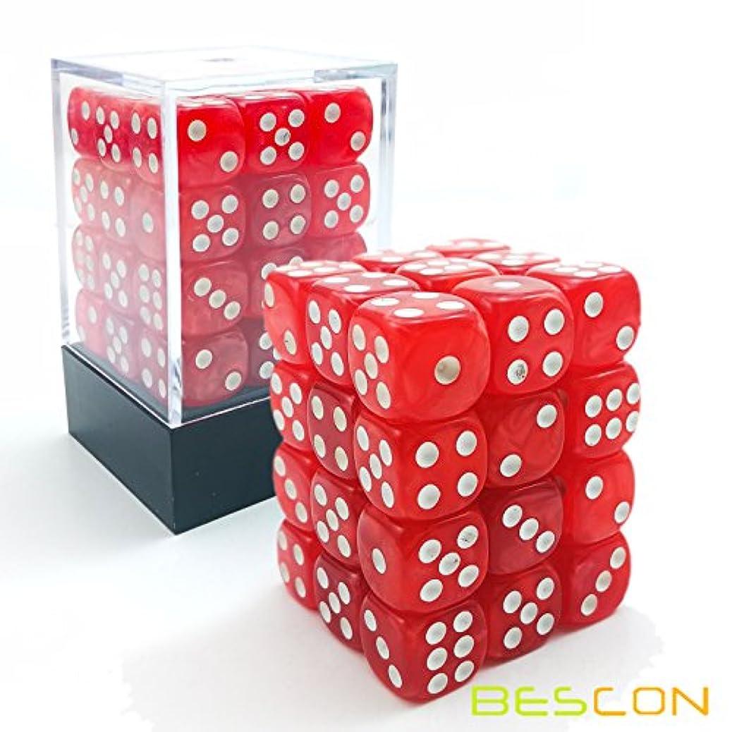 盟主硬い束Bescon 12mm 6 Sided Dice 36 in Brick Box, 12mm Six Sided Die (36) Block of Dice, Marble Red
