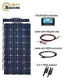 Boguang 200W ソーラーパネルキット: 2枚100W 単結晶 ソーラーパネル + ソーラーチャージャーコントローラー 20A 12V/24V + MC4コネクター付 ソーラーパネル延長ケーブル 2.5sq-3M + 1 ペアバッテリーワニ口クリップ*3M ケーブル+太陽光パネル専用Y型並列MC4コネクタ 2個 1セット