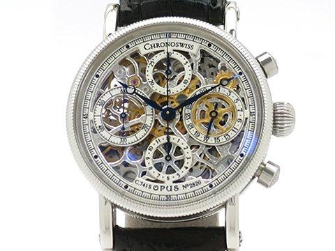 クロノスイス 腕時計 オーパス クロノグラフスケルトン CH7523 SS/革 【中古】