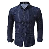 メンズ おしゃれ 長袖 シャツ ドット柄 光沢 ビジネス アメカジ カジュアル シャツ 全3色