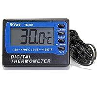 AideTek TM803 冷蔵庫/冷凍庫向け温度計 精度±1℃ 異常温度アラーム機能 最低温度/最高温度記録 3mケーブル付