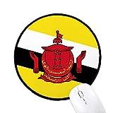 ブルネイの国旗のアジアの国 ラウンド・ノンスリップ・マウスパッド・ブラックtitched端ゲームオフィス贈り物