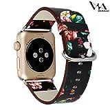【WAfeel】Apple Watch アップルウォッチ通用バンド ウォッチ交換ベルト 本革レザー使用 全6色 花々仕様 男女兼用 (38mm, ブラック花々レッド)