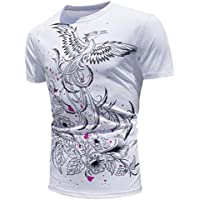 LOOKATOOL Hot Men's Printed Phoenix Tops Shirt Encounter Sun Change Color Short Sleeve Casual T-Shirt
