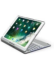 iPad Pro 10.5キーボードケース、businda 7色バックライト付きキーボードケースカバー360 °回転スマートキーボードケース/スリープ付きiPad Pro 10.5 2017 New iPad シルバー