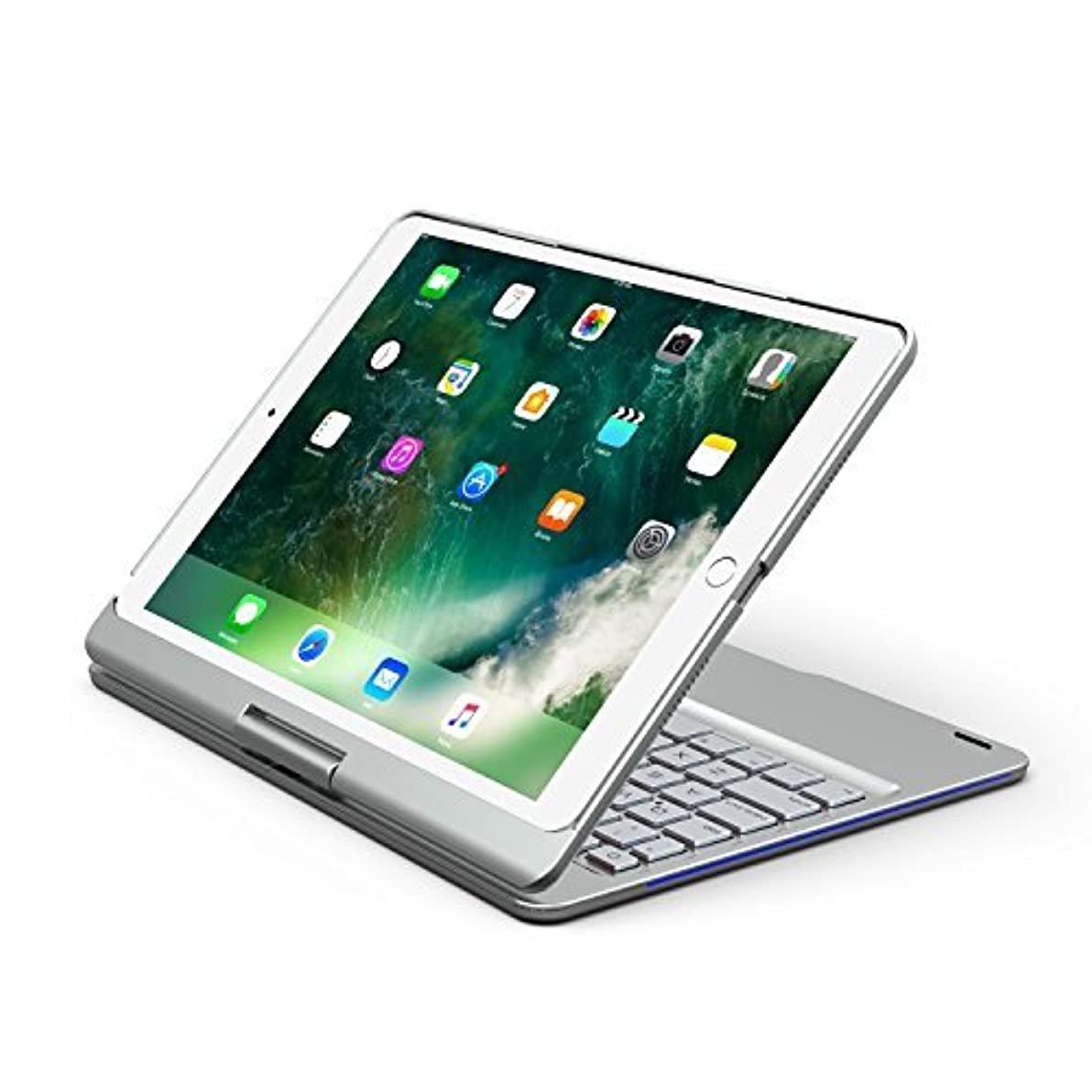 怒りキャリッジ君主制iPad Pro 10.5キーボードケース、businda 7色バックライト付きキーボードケースカバー360 °回転スマートキーボードケース/スリープ付きiPad Pro 10.5 2017 New iPad シルバー