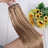 FidgetGear 7A 16-26インチのRemyの人間の毛髪延長の容易なループマイクロリングシリコーンビーズ #16ダークホーンブロンド