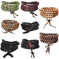 Subiceto 8pcs 8mm Wood Mala Beaded Bracelet for Women Men Elastic Buddha Bracelet