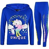 Kids Girls Top Dabbing Unicorn Floss Unique Rainbow Hooded Legging Set Tracksuit
