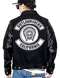 (ブラックホース) BlackHorse デニムバイカーズジャケット メンズ ライダース Gジャン PUレザー袖 大きいサイズ b系 ストリート