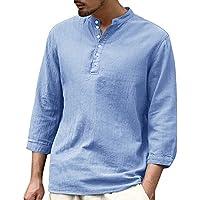 Karlywindow Mens Long Sleeve Henley Shirt Cotton Linen Beach Yoga Loose Fit Henleys Tops