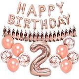 誕生日飾り付け 2歳 シャンパンゴールド 誕生日 女の子 タッセル 紙吹雪バルーン happy birthdayバルーン 数字2バルーン