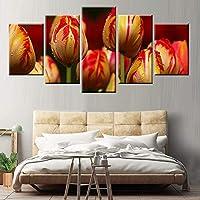Ojilkt Hdプリント5パネルポスターモジュラー画像チューリップ花芽壁アートリビングルーム家の装飾キャンバス絵画-Size3-フレームレス