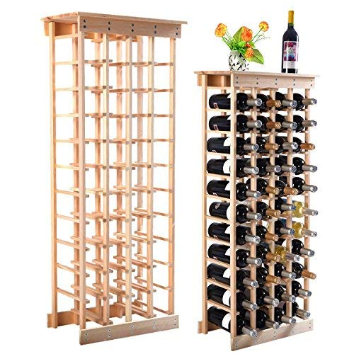 MasterPanel – 44ボトル木製ワインラックストレージ表示シェルフキッチン装飾自然# tp3355