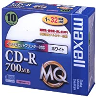 maxell データ用 CD-R 700MB 48倍速対応 インクジェットプリンタ対応ホワイト 10枚 5mmケース入 CDR700.PW1P10S