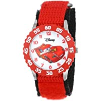 "Disney Kids' W001003""Time Teacher"" Cars Lightning McQueen Stainless Steel Watch with Red Nylon Strap"