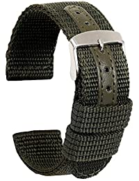 Ullchro 時計ベルト 時計 ベルト ファブリック 生活防水 - 18mm 20mm 22mm 24mm 時計 バンド 時計バンド 替えベルト 替えバンド ベルト 交換 (18mm, Army green)