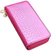 OURBAG 女性ダブルジッパーロングウォレットクラッチレザーカードコインホルダー財布の携帯電話バッグ