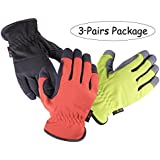 SKYDEER Armprotec Synthetic Leather WorkPRO Work Glove (3-Pairs Value Pack, Large)