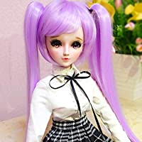 KESOTO 60cmドール 1/3 BJD SD人形用 かつら ウィッグ ロング 波髪 ポニーテール 全4タイプ - #1紫