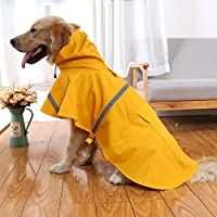 Chiguo 犬用レインコート ポンチョ  反射テープ 防雪 防水 防風 フード付き 小型 中型 大型 犬服 レインコート 犬用 雨 散歩 アウトドア (S, イエロー)
