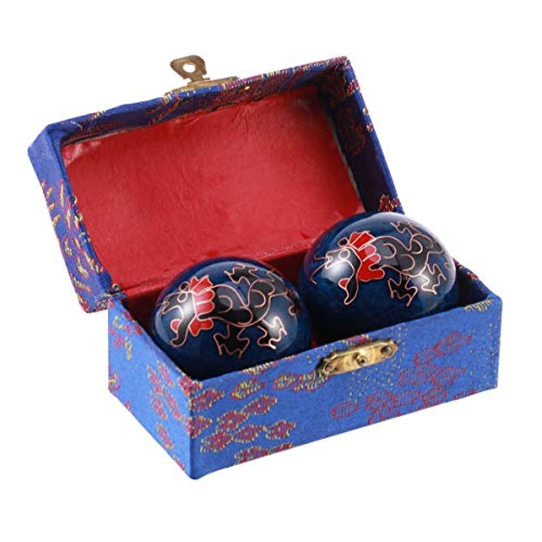 Healifty 2pcs中国の健康玉はボールを鍛える運動マッサージボールのストレスは、ハンドセラピーのストレスリリーフ(ブラックドラゴンズとフェニックス)のハンドエクササイズセラピーボールを解放します。