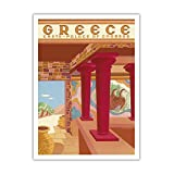 """ギリシャ–クレタ島–Cnossosの宮殿(Knossos)–ヴィンテージ世界旅行ポスターby Helen perakis-theocharis c.1949–Fineアートプリント 12"""" x 16"""" Premium Giclée APPB4514"""