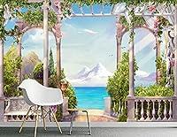 Minyose カスタム3D壁紙壁画クリア地中海シースケープローマ時代の背景の壁の写真の3D壁紙-140cmx100cm