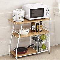 FANGFA キッチン棚3層電子レンジオーブン食器用野菜収納ラックラック付きまたはベース白黒 (色 : 白, サイズ さいず : L*W*H: 80*36*83cm)