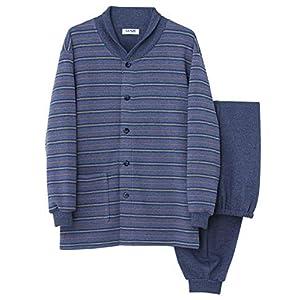 [グンゼ] メンズパジャマ (襟元あたたか) 長袖長パンツ 裏パイル起毛ボーダー/無地 SG4178 ブルー 日本 LL (日本サイズ2L相当)